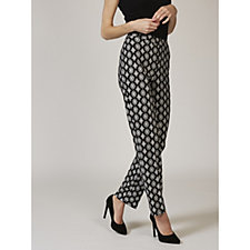 Printed Slim Leg Stretch Crepe Trousers by Nina Leonard