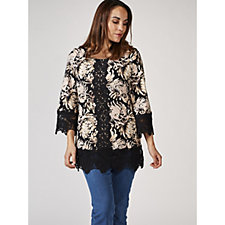Isaac Mizrahi Live Bell Sleeve Lace Detail Printed Tunic