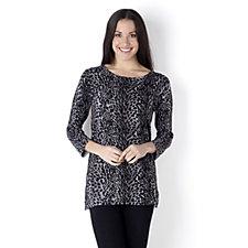 3/4 Sleeve Printed Sweater Knit Tunic by Nina Leonard