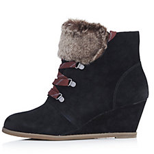 127559 - Clarks Lumiere Lace Up Ankle Boot with Wedge Heel & Faux Fur Detail