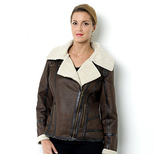 Centigrade Faux Leather Sherpa Aviator Jacket