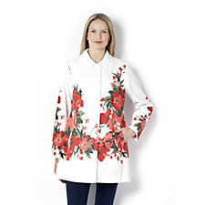 Dennis Basso Water Resistant Placed Floral Jacket