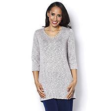 Kim & Co Riveria Knit 3/4 Sleeve Tunic with Hi-Lo Hem