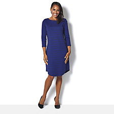 Isaac Mizrahi Live Long Sleeve Boat Neck Dress with Shoulder Detail