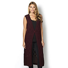 Denim & Co. Open Front Crochet Sleeveless Duster