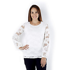 Attitudes by Renee Bishop Sleeves Lace Tunic
