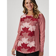 Isaac Mizrahi Live Long Sleeve Lace Detail Top with Curved Hem