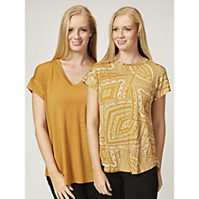 Antthony Designs Pack of 2 Plain & Printed Tops