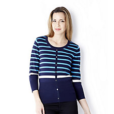 Marble Long Sleeve Soft Touch Stripe Mock Cardigan