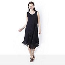 Yong Kim Crinkle Sleeveless Dress with Chiffon Asymmetric Hem