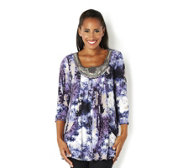 Fashion by Together Print Jersey Tunic with Embellished Neckline
