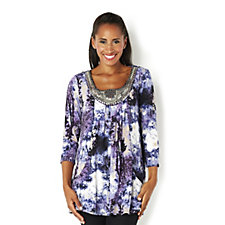 155160 - Fashion by Together Print Jersey Tunic with Embellished Neckline