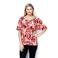 Fashion by Together Caribbean Coral Print Top