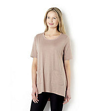 Logo by Lori Goldstein Cotton Mix Top with Patch Pocket Detail