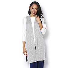 Kim & Co Riviera Knit Sleeveless Duster with Side Slits