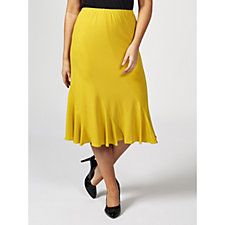 Soft Stretch Fluted Hem Panel Skirt by Michele Hope
