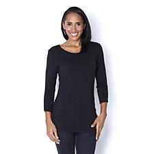 3/4 Sleeve Jewel Neck Tunic by Nina Leonard
