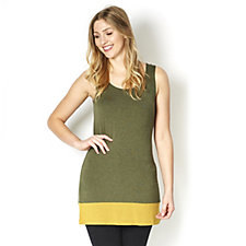 Logo Layers by Lori Goldstein Heather Tank Top with Contrast Hem Detail