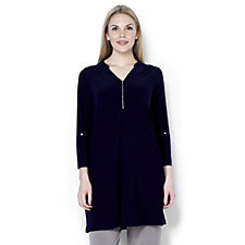 Together Zip Front Tunic Dress with PU Trim