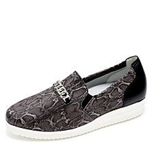 Vitaform Snake Print Leather Loafer with Chain Detail