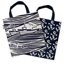 Mini Moderns Set of 2 Canvas Tote Shopper Bags