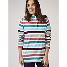 Denim & Co. Striped Long Sleeve Button Henley Top