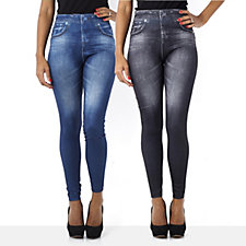 Slim 'n Lift Caresse Jean Effect Leggings 2 Pack