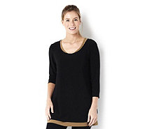 Attitudes By Renee 3/4 Sleeve Jersey Top With Under Top - 156361