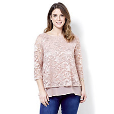 Fashion by Together Lace Overlay Top