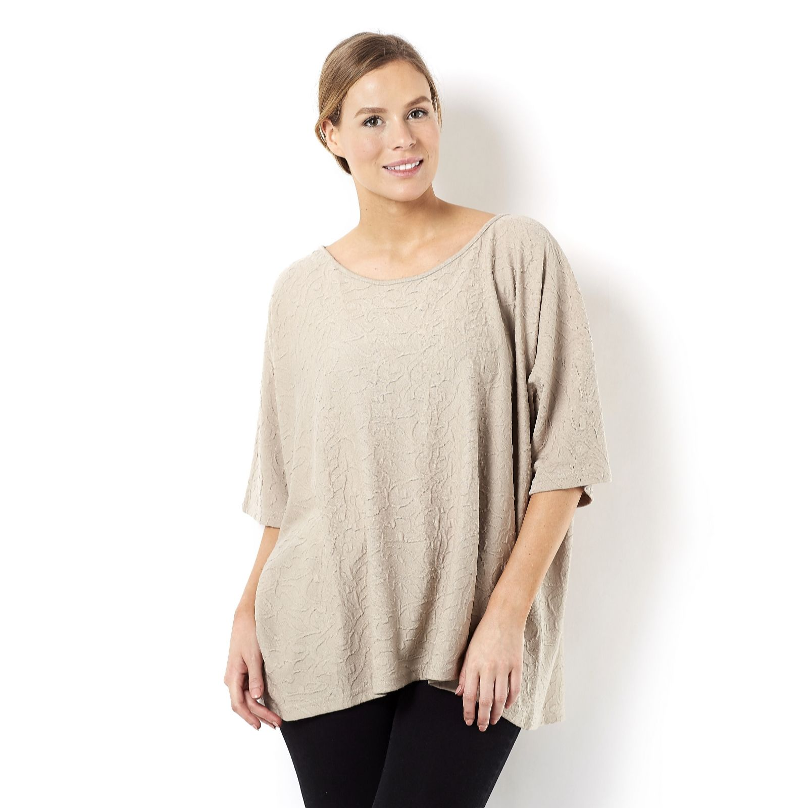 Join Clothes Jersey Jacquard Top with Drop Sleeve