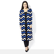 160761 - Chelsea Muse by Christopher Fink Chevron Side Slit Cardigan