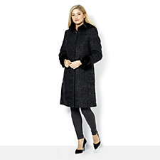 Centigrade Boucle Wool Faux Fur Coat with Trimmed Cuffs and Hood