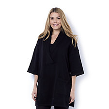 Button Detail Poncho by Michele Hope