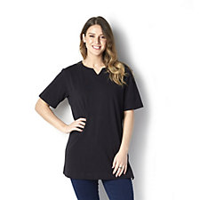 Denim & Co. Oversized Short Sleeve Split V T-Shirt with Button Detail