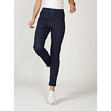Isaac Mizrahi Live Knit Denim Full Length Slim Leg Trousers