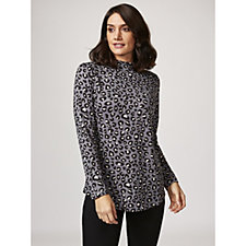 Denim & Co. Printed Jersey Long Sleeve Mock Neck Top