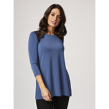 3/4 Sleeve Stretch Crepe Tunic with Lace Detail by Nina Leonard