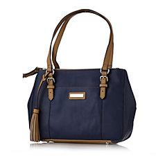 Tignanello Preppy Classic Pebble Leather Double Zip Shopper Bag
