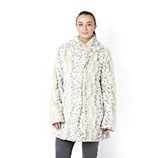Dennis Basso Snow Lynx Shawl Collar Faux Fur Coat