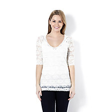 Slim 'n Lift  Caresse 3/4 Sleeve Lace Top.