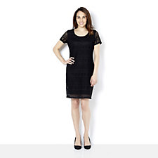 Ronni Nicole 'O So Slim' Short Sleeve Linea Stretch Lace Dress
