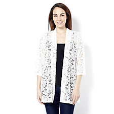 Kim & Co Embroidered Lace 3/4 Sleeve Cardigan