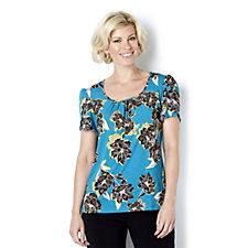 159662 - Kim & Co Silk Printed Jersey Tulip Sleeve Scoop Neck Top