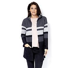 Anybody Loungewear Striped Hooded Cardigan