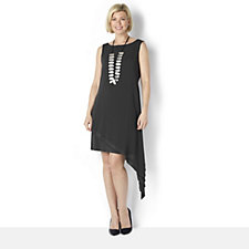MarlaWynne Asymmetrical Matt Jersey Dress with Chiffon Overlay