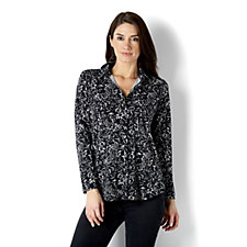 Printed Liquid Knit Button Front Shirt by Susan Graver