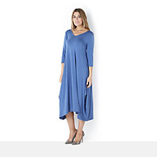Join Clothes V Neck Maxi Dress 3/4 Sleeve