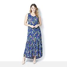 C. Wonder Printed Ladder Lace Detail Maxi Dress