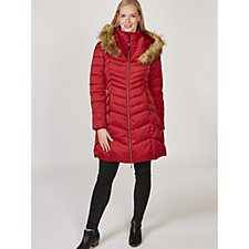 Rino & Pelle Faux Fur Detail Chevron Panel Long Line Padded Coat