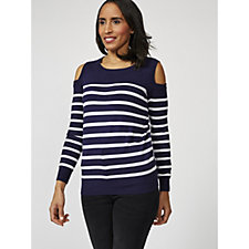 Attitudes by Renee Long Sleeve Cold Shoulder Sweater